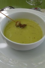 photo of country pea soup with rosemary